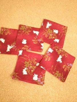 ハンドメイド和柄コースター(うさぎ 赤)5枚セット