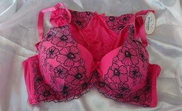 �A C85/LL ピンク 脇高ブラジャーショーツセット 花刺繍 パンティー N1010 3段ホック