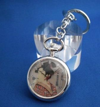 キーチェーンウォッチ浮世絵-喜多川歌麿時計