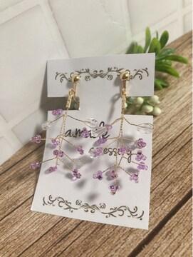 ...handmade earring/ビーズスワッグ/小枝...