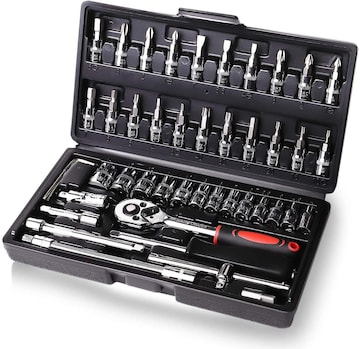 ラチェットレンチ ソケットレンチ 工具セット 46pcs