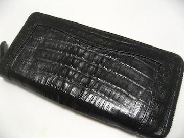 男の極上ステイタス本物クロコダイルカイマンの1番人気ラウンドファスナー長財布.未使用